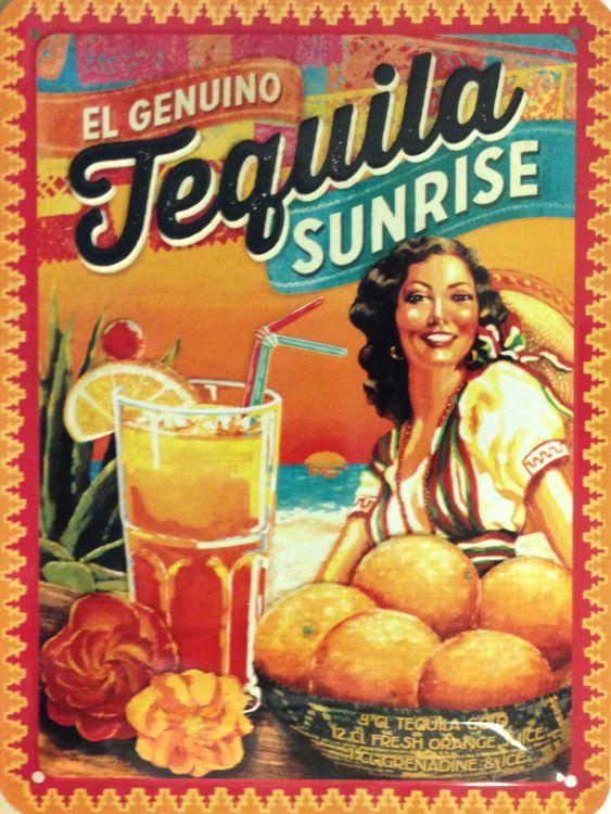 Plechová retro cedule Tequila Sunrice
