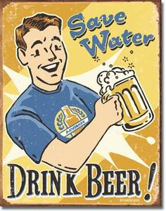 Plechová cedule pivo Save water - drink beer