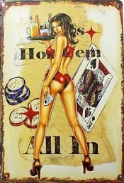 Plechová retro cedule Poker - žena - Holdem all in
