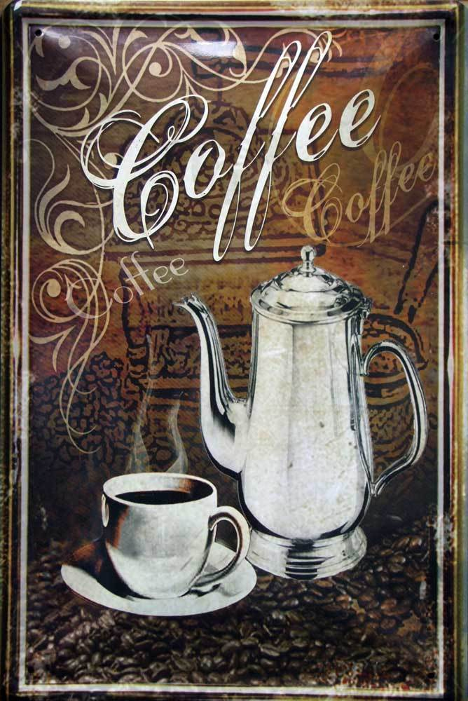 Plechová cedule káva - Coffee