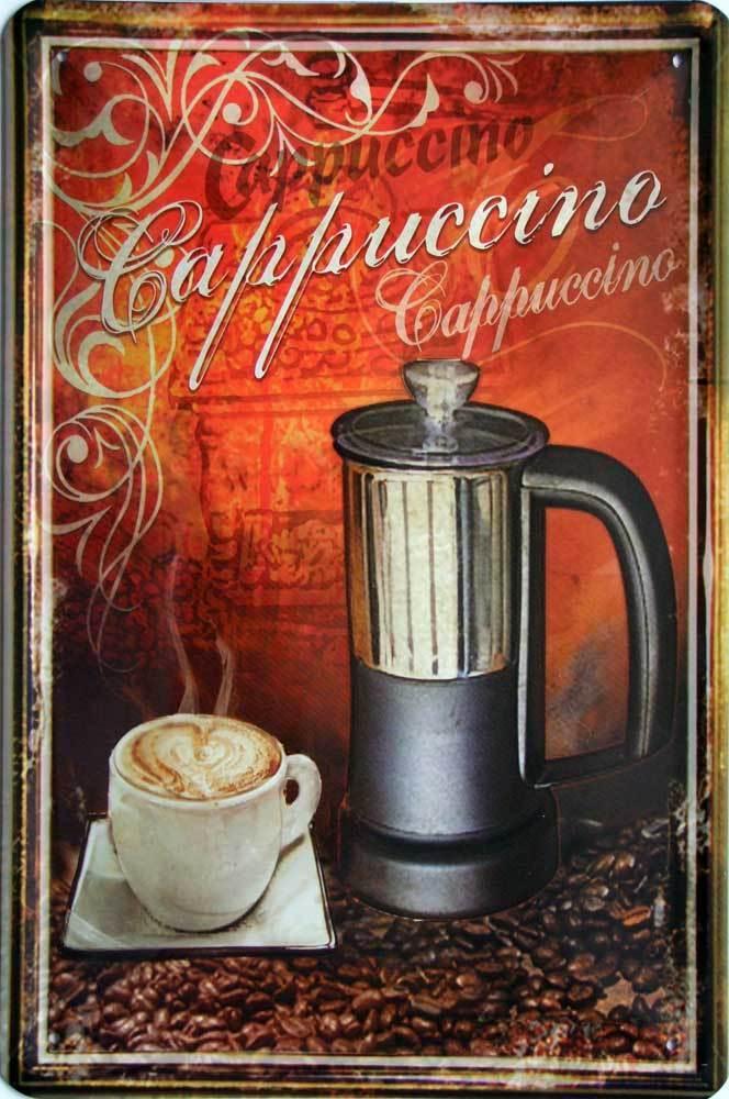 Plechová cedule káva (coffee) - Cappuccino