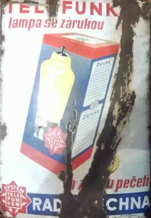 Smaltovaná cedule Telepunkt lampa se zásuvkou