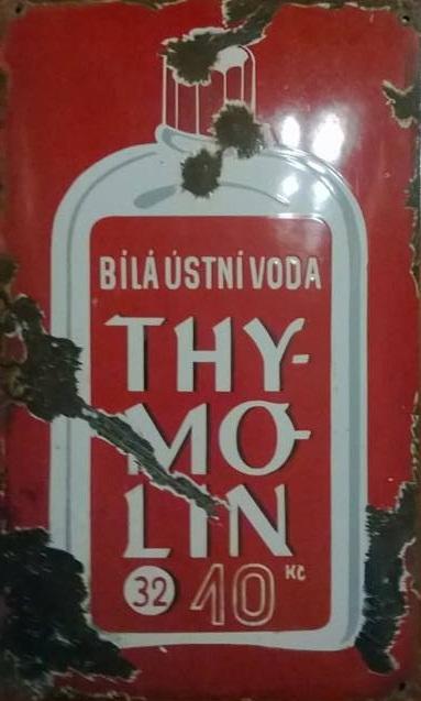 Originální smaltovaná cedule Thymolin