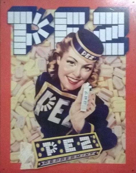 Plechová retro cedule Pez - reklama na bombóny