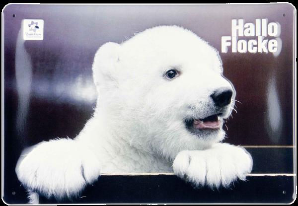 Plechová cedule medvídek Hallo Flocke