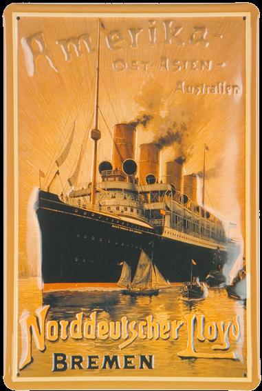 Plechová retro cedule loď Amerika, Ost. Asien, Australien,