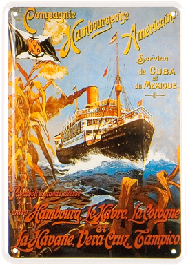 Plechová cedule loď - Compagnie Hamburg-Amerika