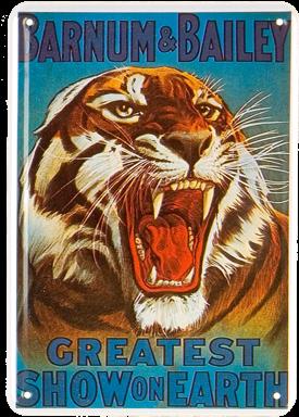 Plechová cedule Tygr- Greatest show on earth
