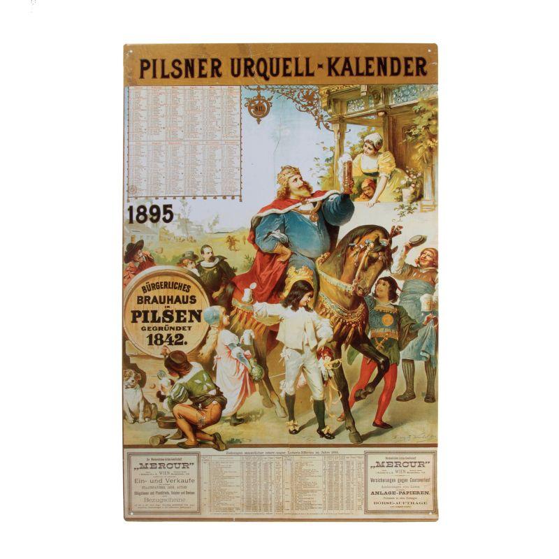 Plechová cedule kalendář Pilsner Urquell 1895