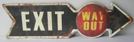 Plechová cedule Exit way out