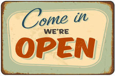 Plechová cedule Come in - We are open AKCE 1+1