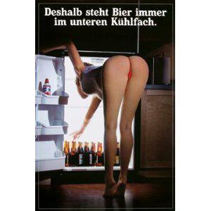Plechová cedule Deshalb steht Bier immer im unteren Kühlfach