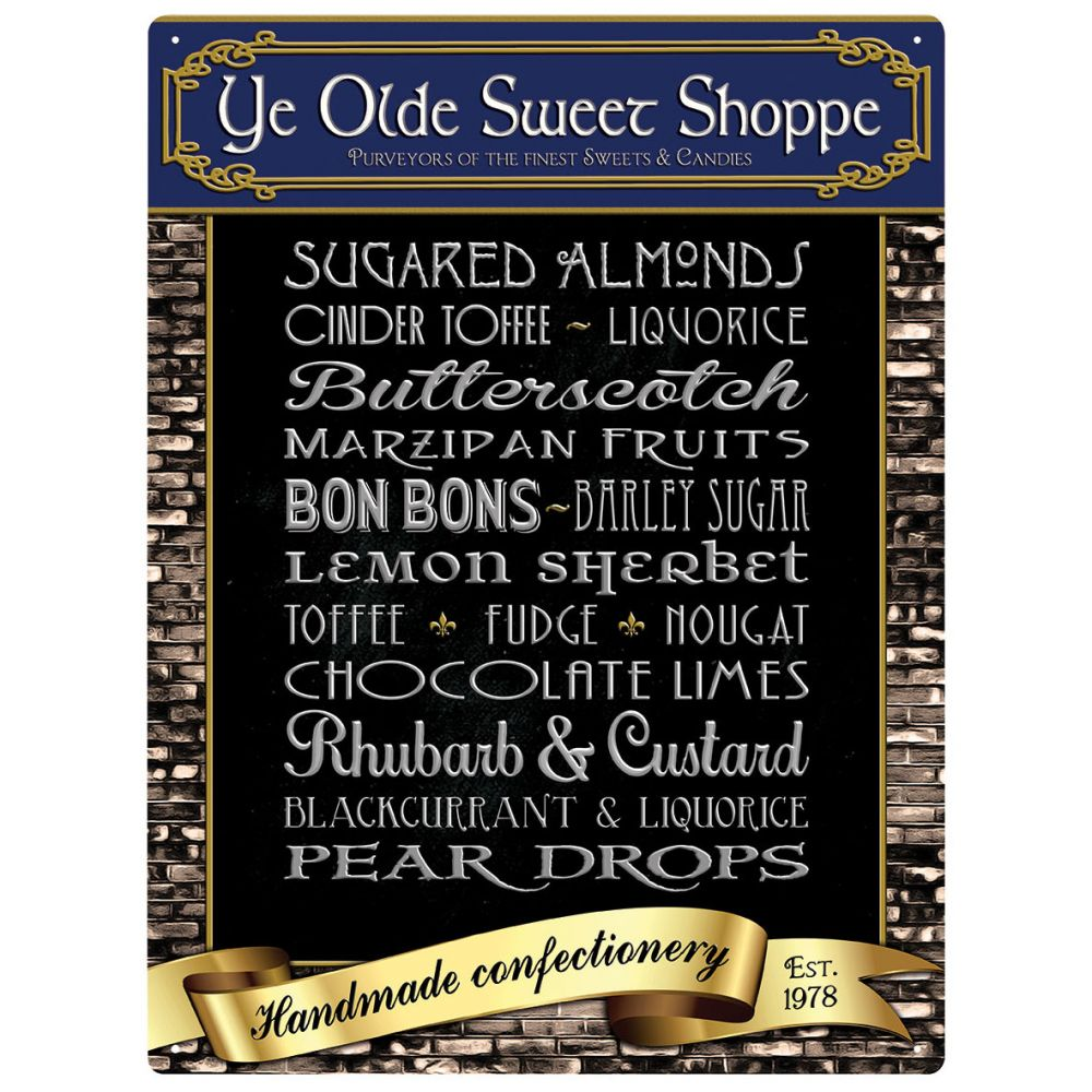 Plechová cedule Ye Olde Sweet Shoppe