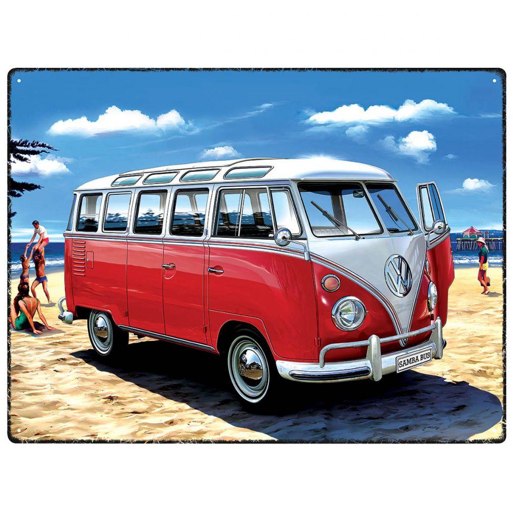 Plechová cedule VW Bulli Samba bus červený