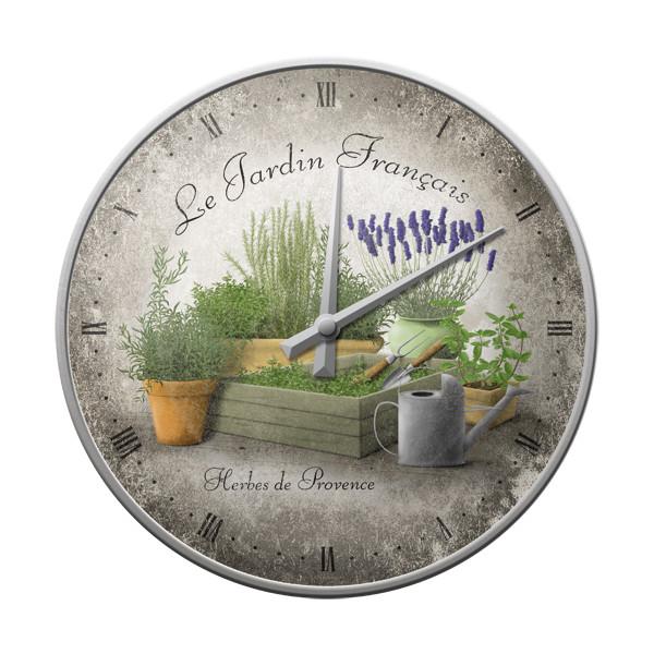 Plechové retro hodiny Le Jardin francais - Herbes de Provence