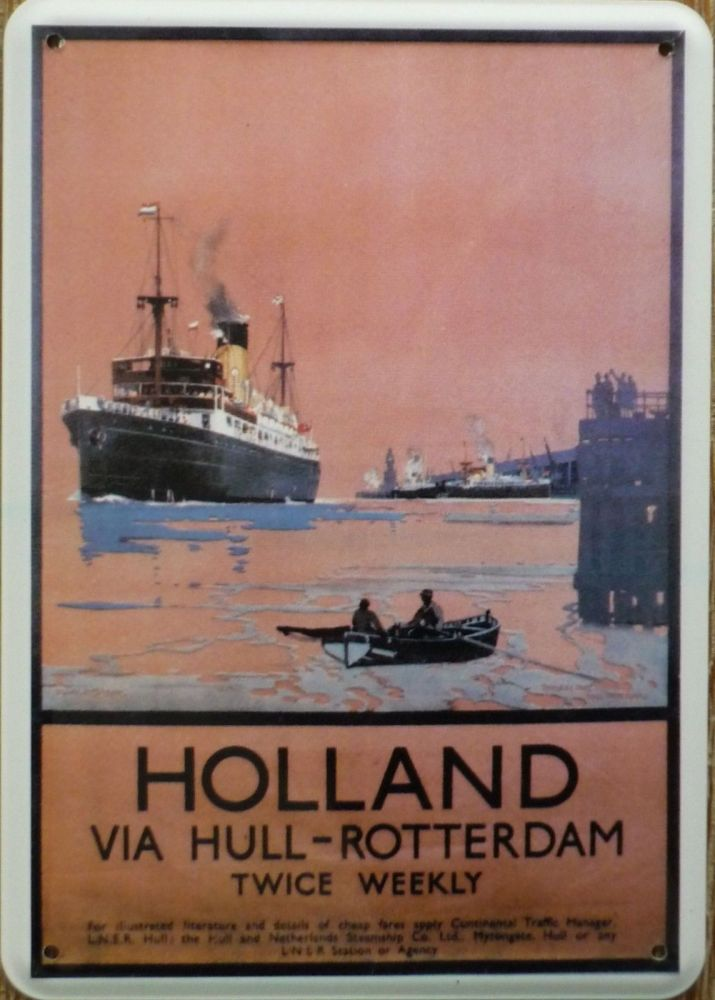 Plechová cedule loď - Holland via Hull Rotterdam