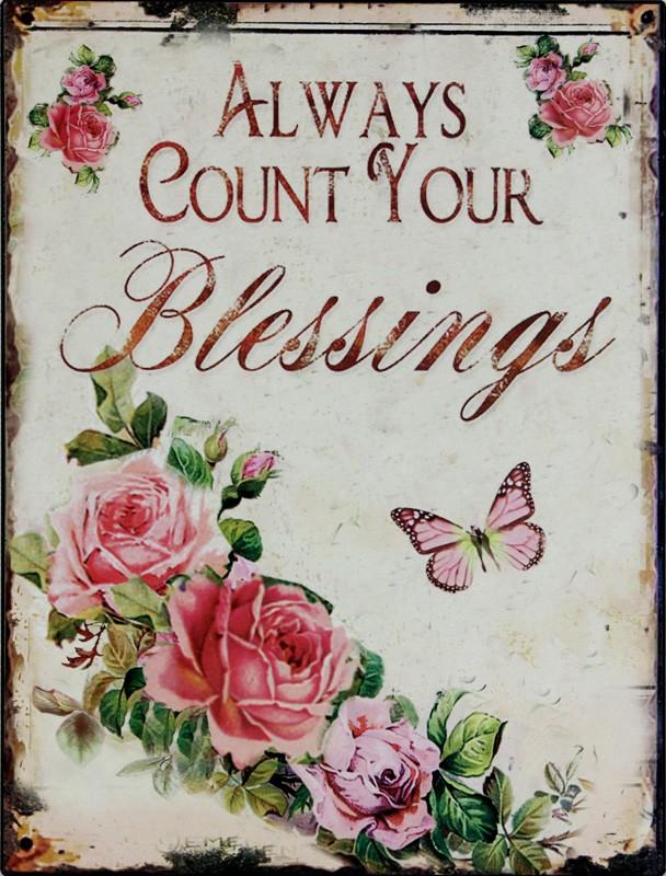 Plechová cedule Always count blessings