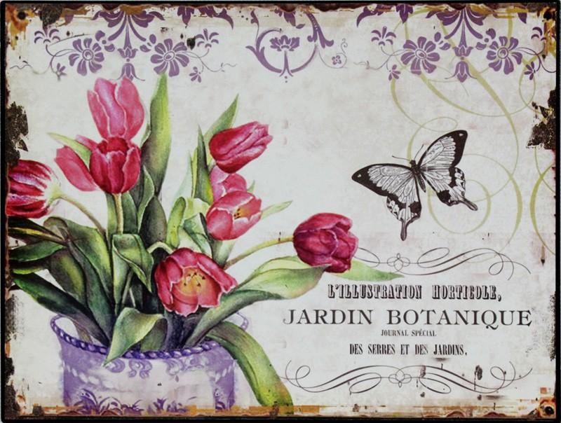 Plechová vintage cedule Tulipány L