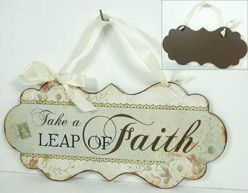 Plechová cedule se stuhou Take a leap of faith