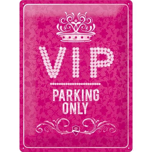 Plechová cedule VIP parking only růžová