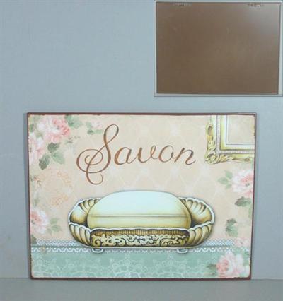 Plechová retro cedule do koupelny Savon