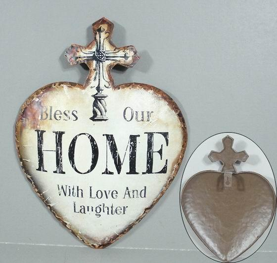 Plechová vintage cedule Srdce - Bless Our Home - with love and laughter