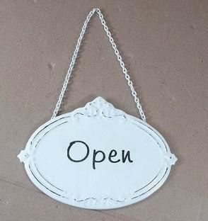 Plechová cedulka na dveře Open
