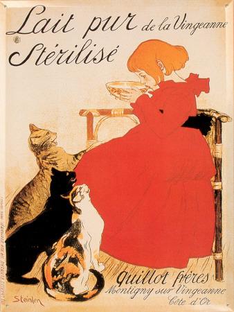 Plechová cedule Kočky - Lait pur de la Vinngeanne