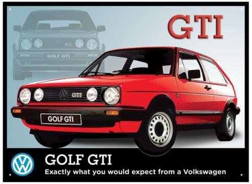 Plechová retro cedule VW Golf GTI