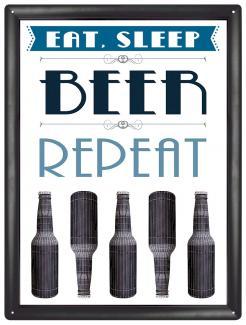 Plechová cedule pivo - Beer repeat