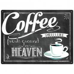 Plechová cedule Coffee - smells like fresh ground Heaven