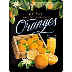 Plechová retro cedule Oranges - černá