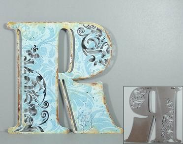 Plechová vintage cedule písmeno R