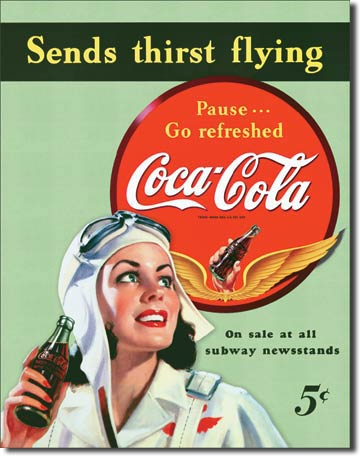 Plechová cedule Coca cola Sends thirst flying