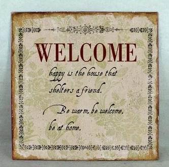 Plechová retro cedule Welcome písmo