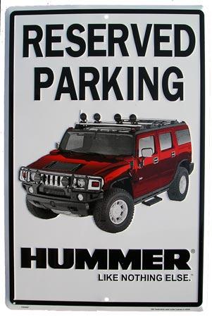 Plechová cedule Reserved parking Hummer