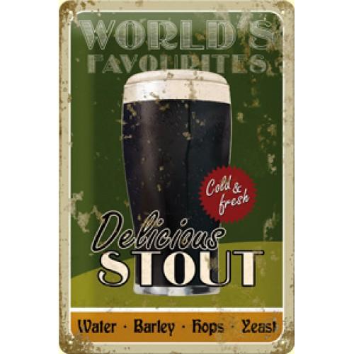 Plechová cedule World's Favorites delicious stout pivo PC