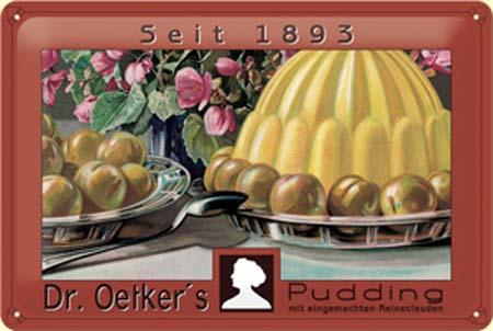 Plechová cedule Dr. Oetkers pudding 1893 - bílé víno