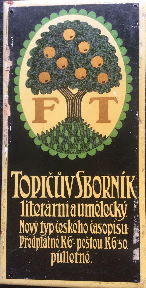 Originální starožitná cedule - dveřní štítek Topičův sborník