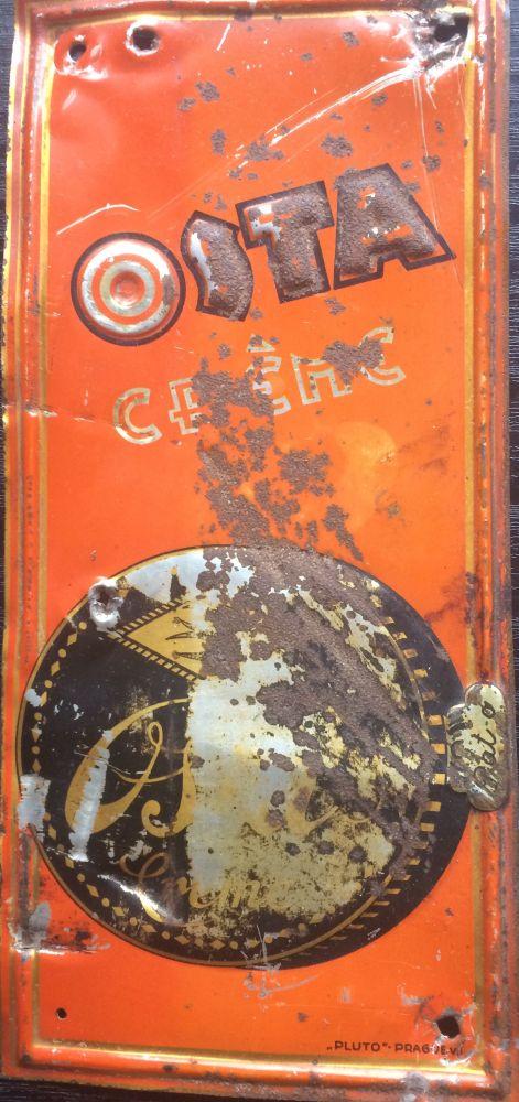 Originální starožitná cedule - dveřní štítek Osta creme