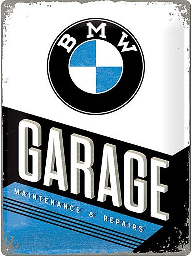Plechová cedule BMW garage SUPER MAXI