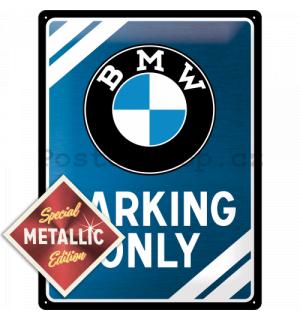 Plechová cedule BMW parking only metalická