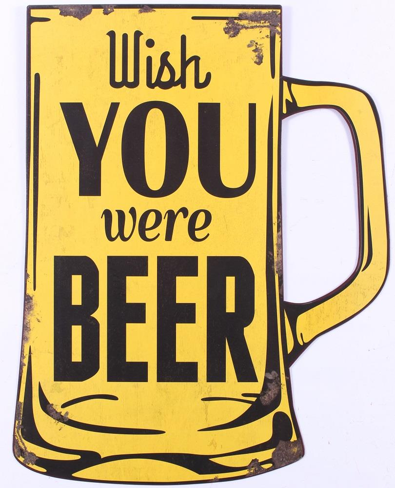 Plechová cedule pivo - Wish you were beer