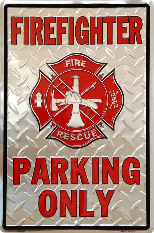 Plechová cedule Firefighter ( Hasiči ) parking only