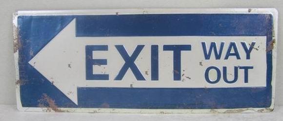 Plechová cedule Exit way out modrá