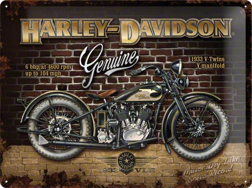 Plechová cedule motorka Harley Davidson Genuine 1933