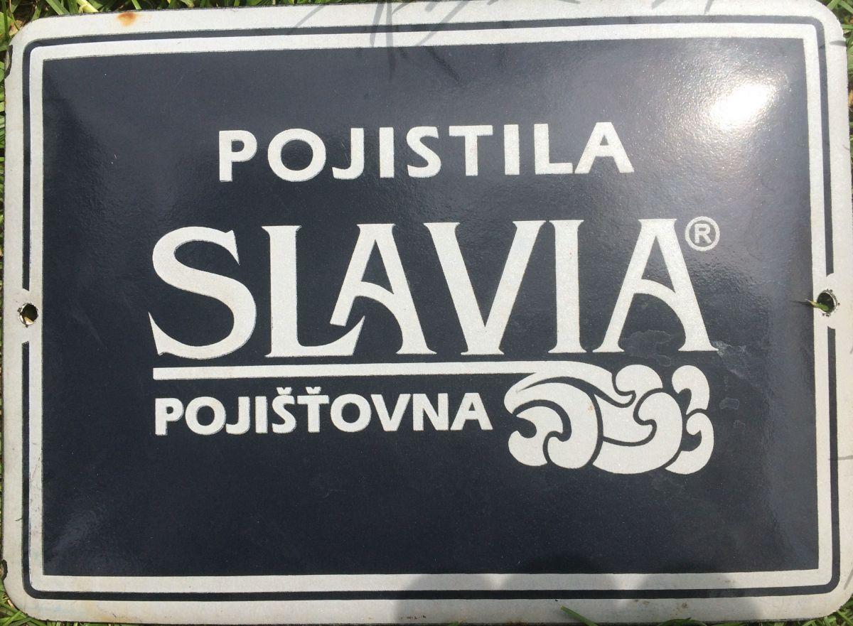 Originální smaltovaná cedule Pojistila Slavia pojišťovna