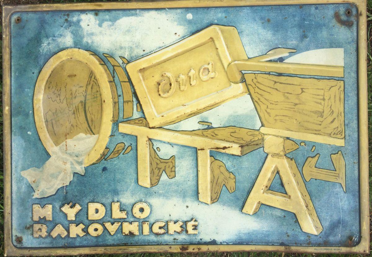 Originální starožitná plechová cedule Otta - mýdlo rakovnické