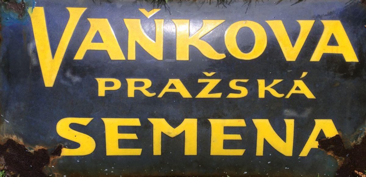 Originální smaltovaná cedule Vaňkova pražská semena