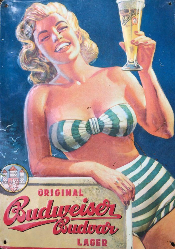 Originální plechová cedule Budweiser Budvar Pivo
